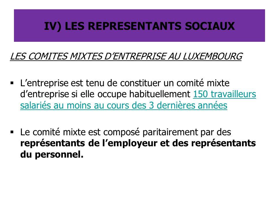 IV) LES REPRESENTANTS SOCIAUX
