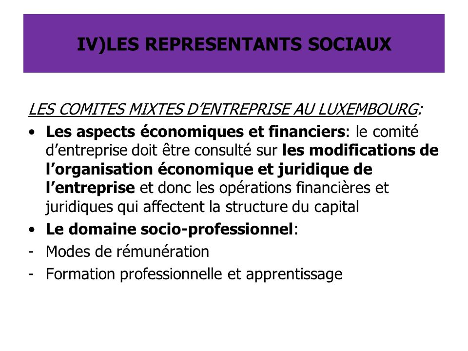 IV)LES REPRESENTANTS SOCIAUX