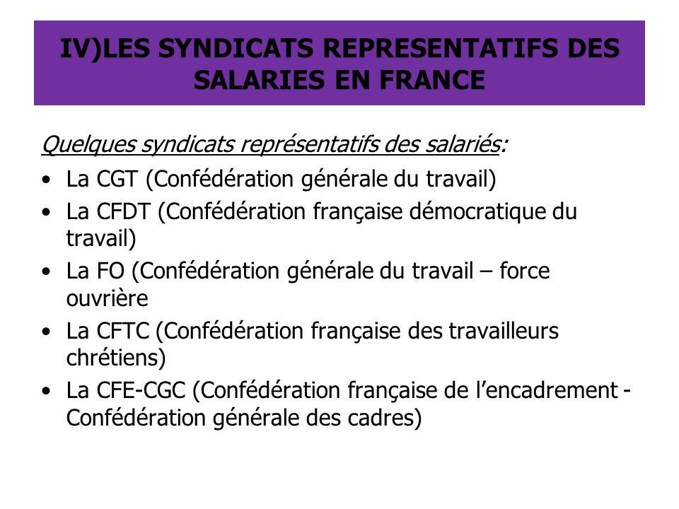 IV)LES SYNDICATS REPRESENTATIFS DES SALARIES EN FRANCE