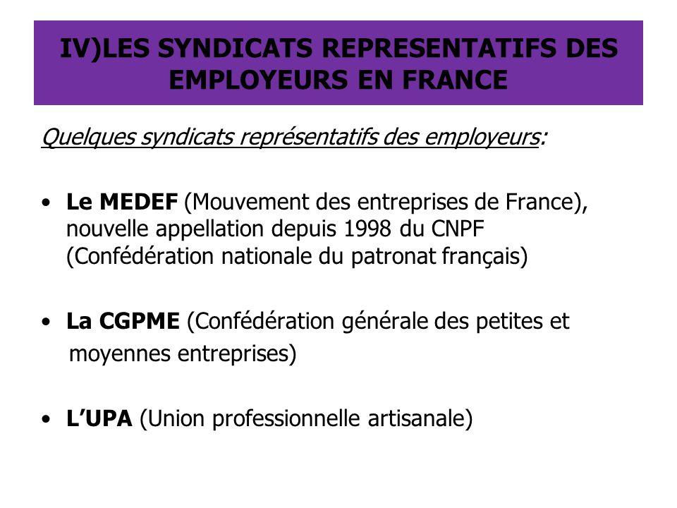 IV)LES SYNDICATS REPRESENTATIFS DES EMPLOYEURS EN FRANCE