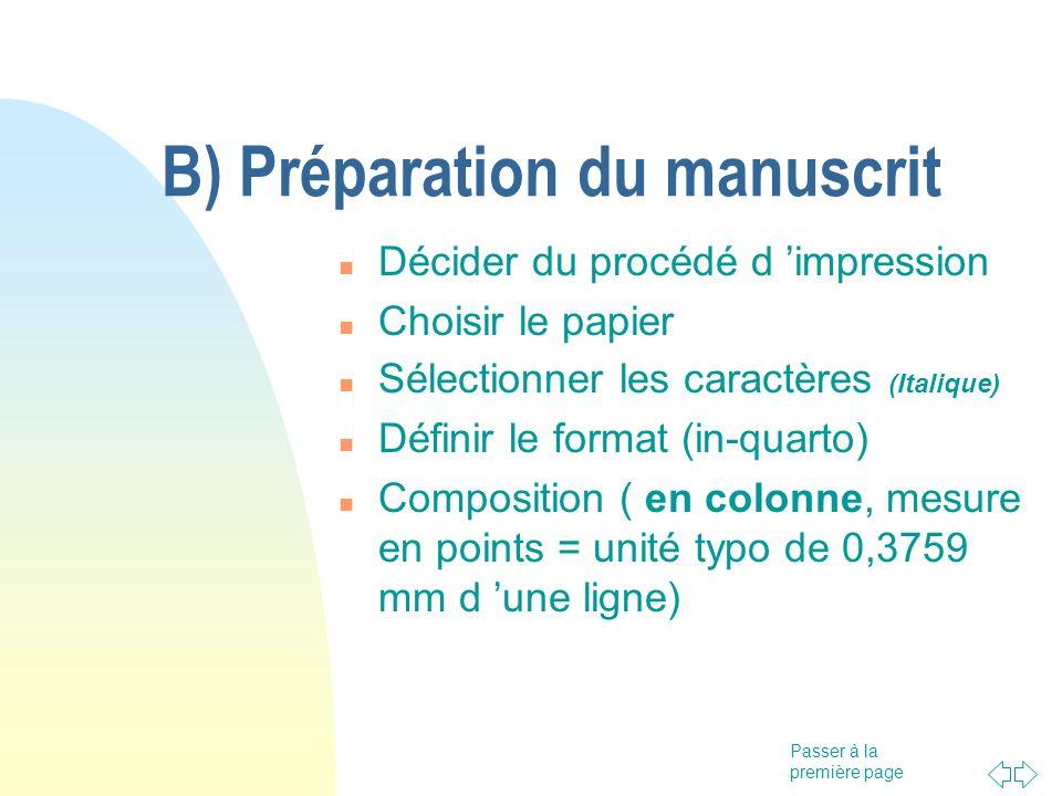 B) Préparation du manuscrit