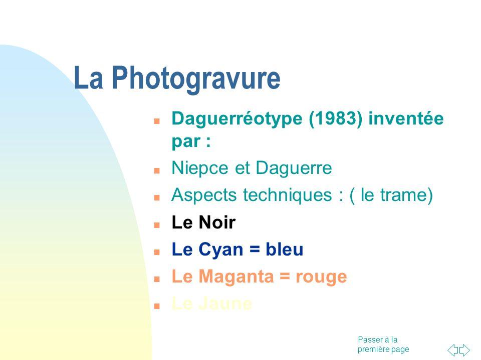 La Photogravure Daguerréotype (1983) inventée par : Niepce et Daguerre