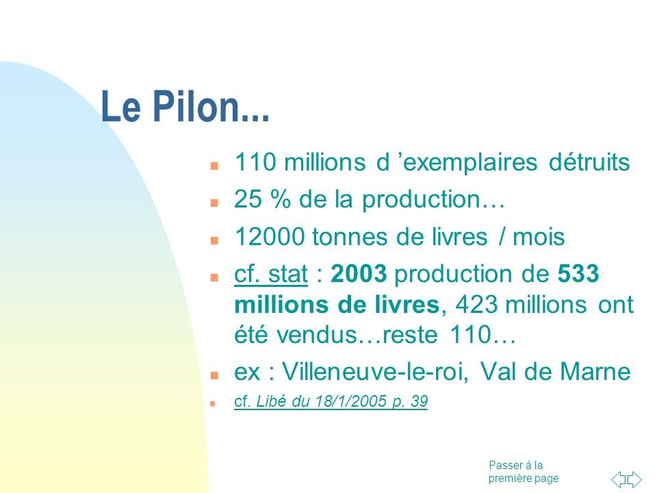 Le Pilon... 110 millions d 'exemplaires détruits