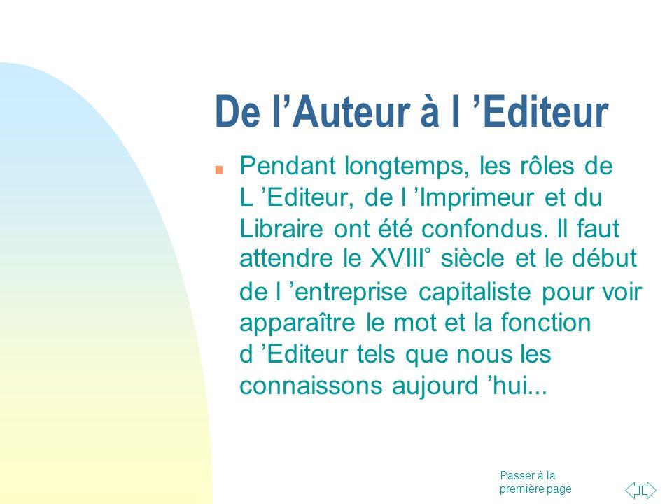 De l'Auteur à l 'Editeur