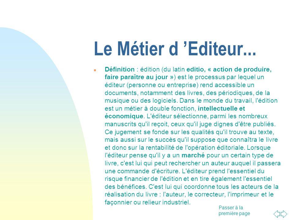 15/05/06 Le Métier d 'Editeur...