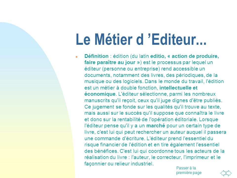 15/05/06Le Métier d 'Editeur...