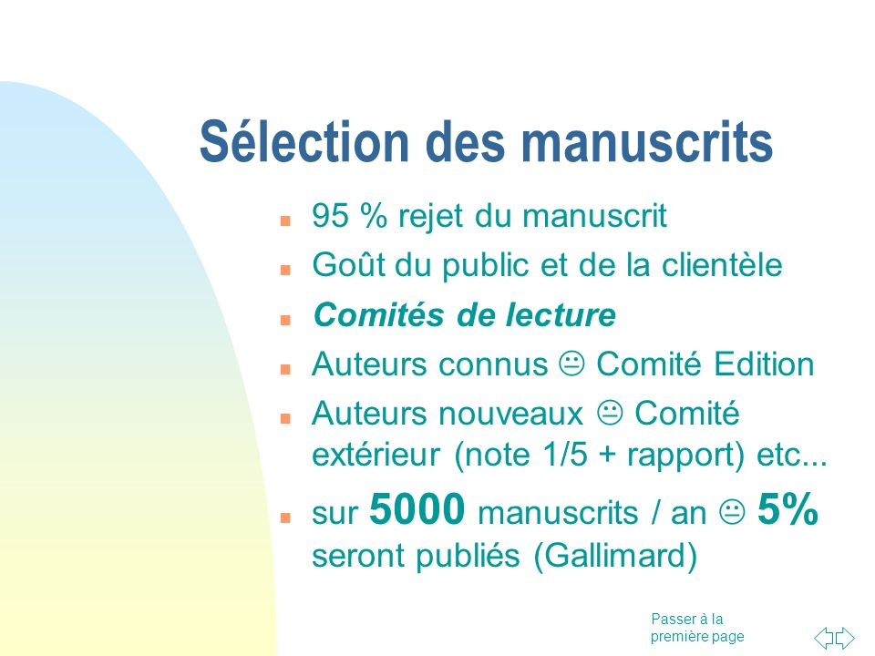 Sélection des manuscrits