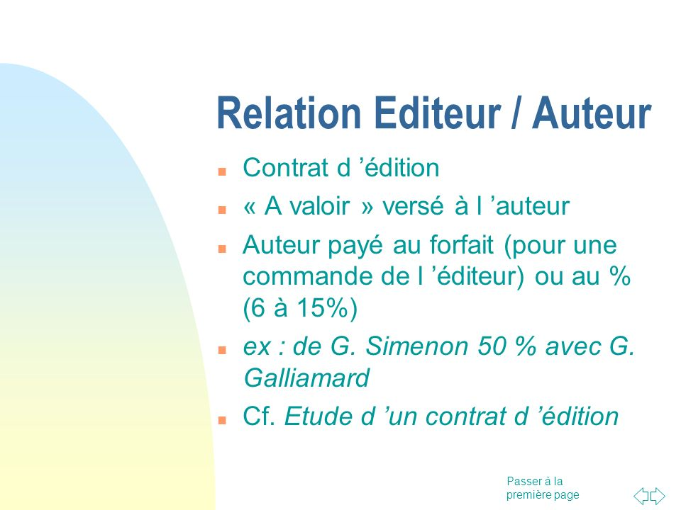 Relation Editeur / Auteur