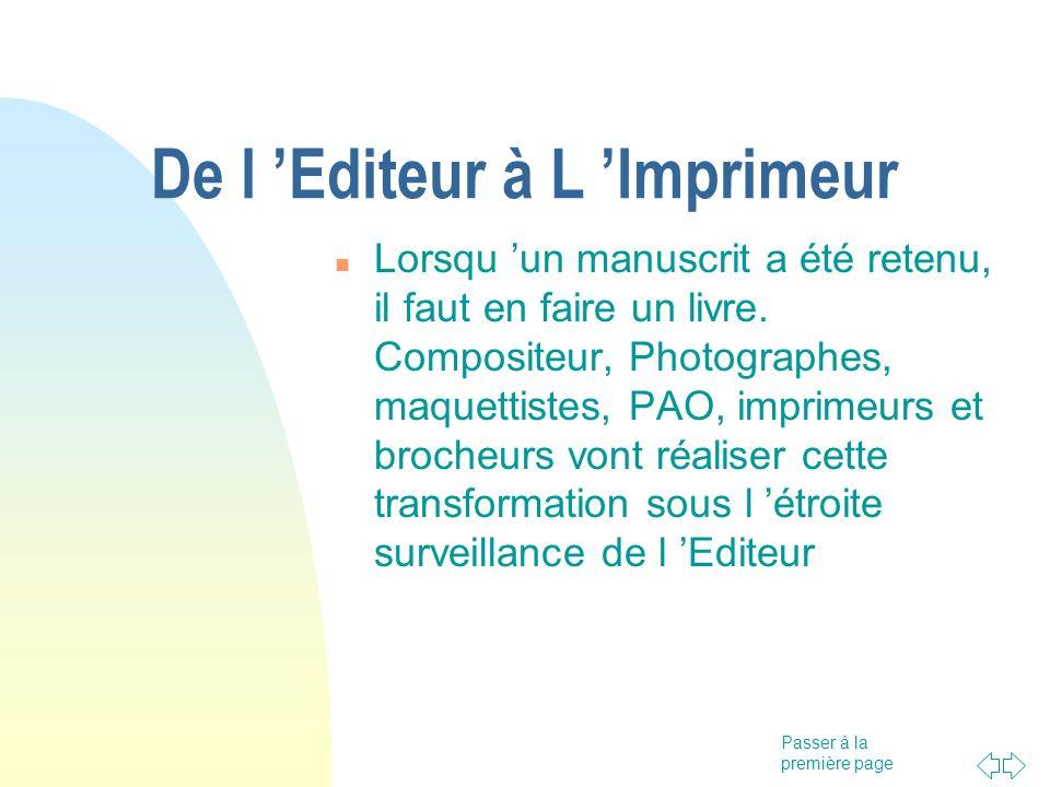 De l 'Editeur à L 'Imprimeur