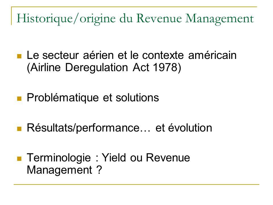 Historique/origine du Revenue Management