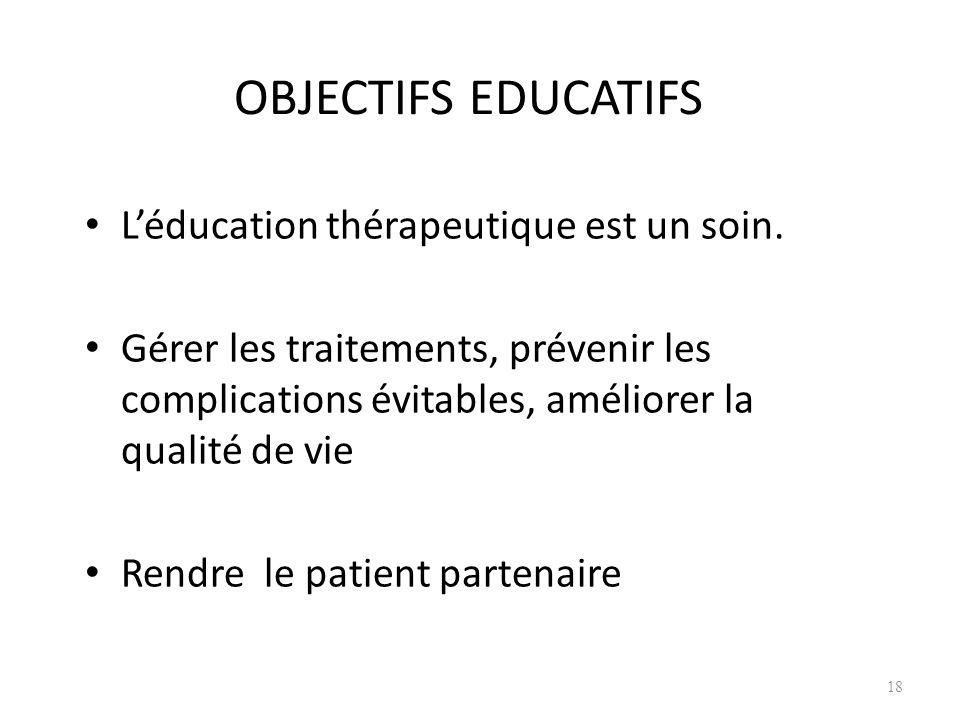 OBJECTIFS EDUCATIFS L'éducation thérapeutique est un soin.