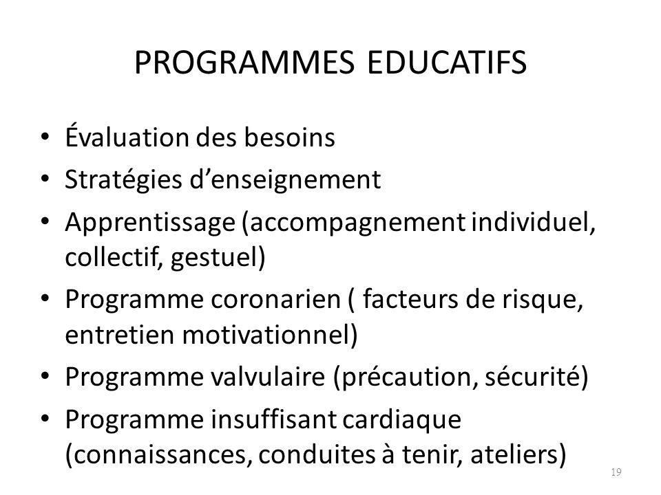 PROGRAMMES EDUCATIFS Évaluation des besoins Stratégies d'enseignement