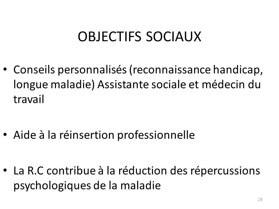 25/03/2017OBJECTIFS SOCIAUX. Conseils personnalisés (reconnaissance handicap, longue maladie) Assistante sociale et médecin du travail.