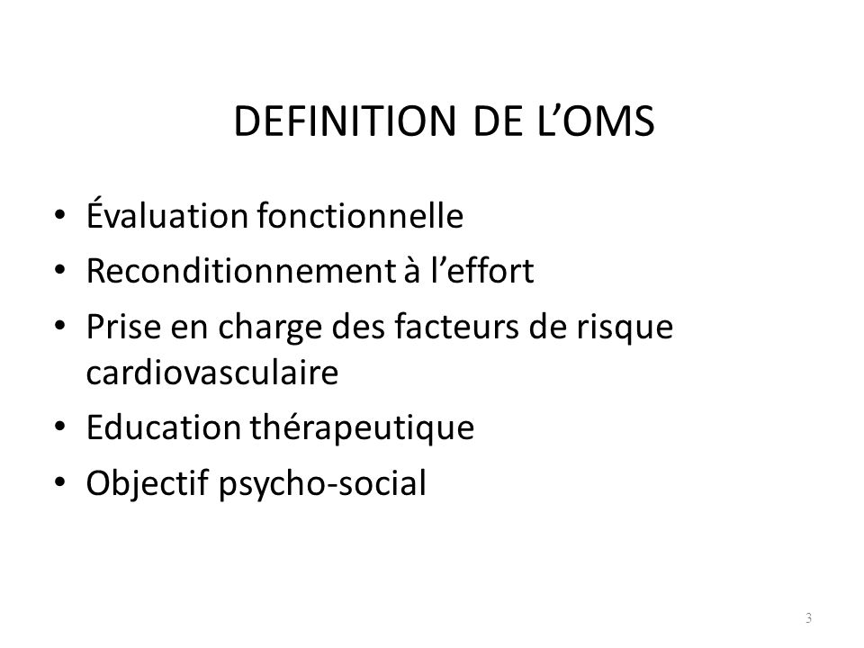 DEFINITION DE L'OMS Évaluation fonctionnelle