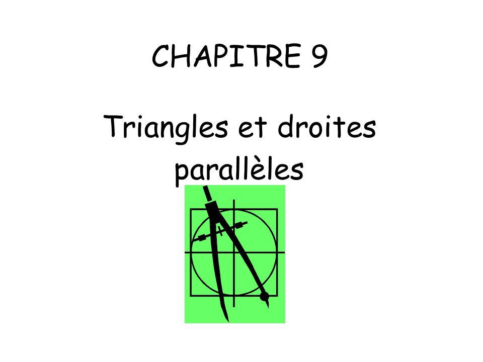 CHAPITRE 9 Triangles et droites parallèles