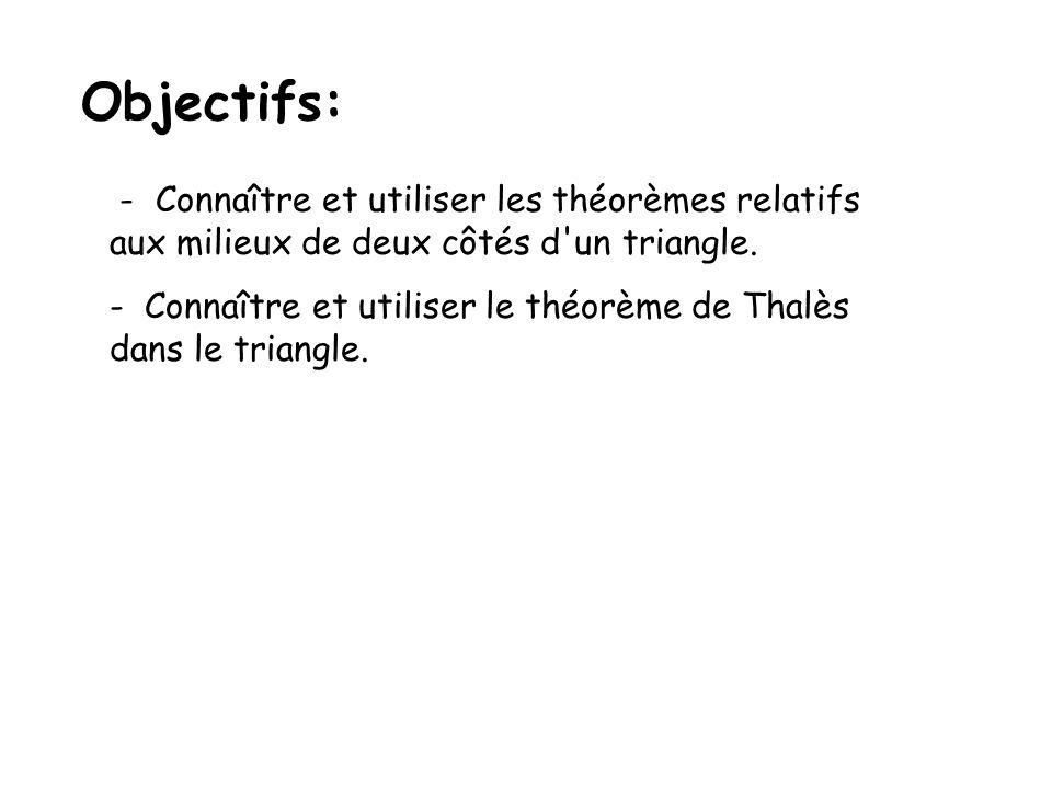 Objectifs: - Connaître et utiliser les théorèmes relatifs
