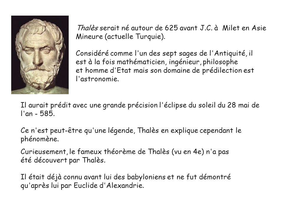 Thalès serait né autour de 625 avant J. C