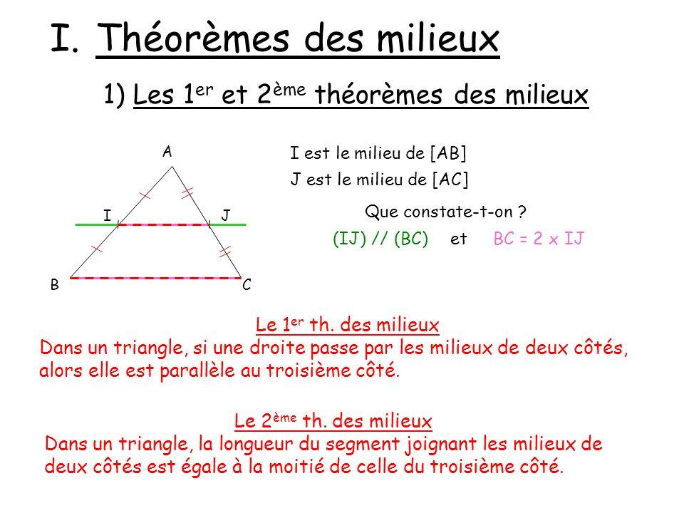Théorèmes des milieux 1) Les 1er et 2ème théorèmes des milieux
