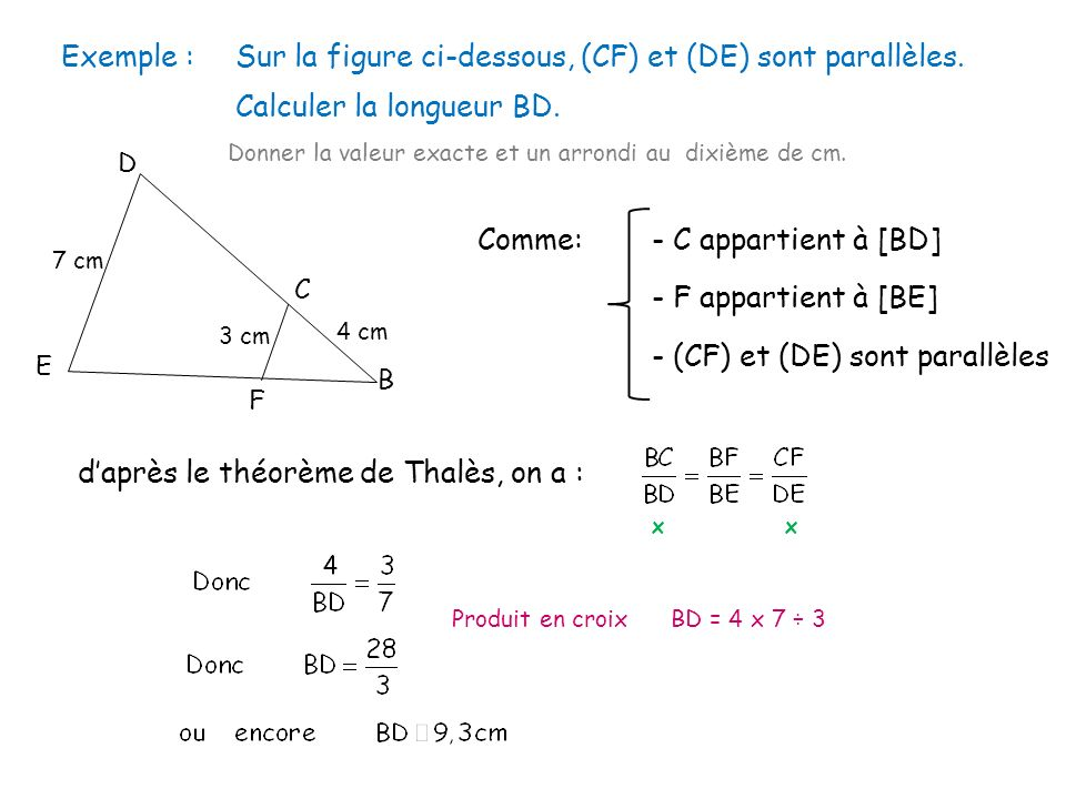 Sur la figure ci-dessous, (CF) et (DE) sont parallèles.