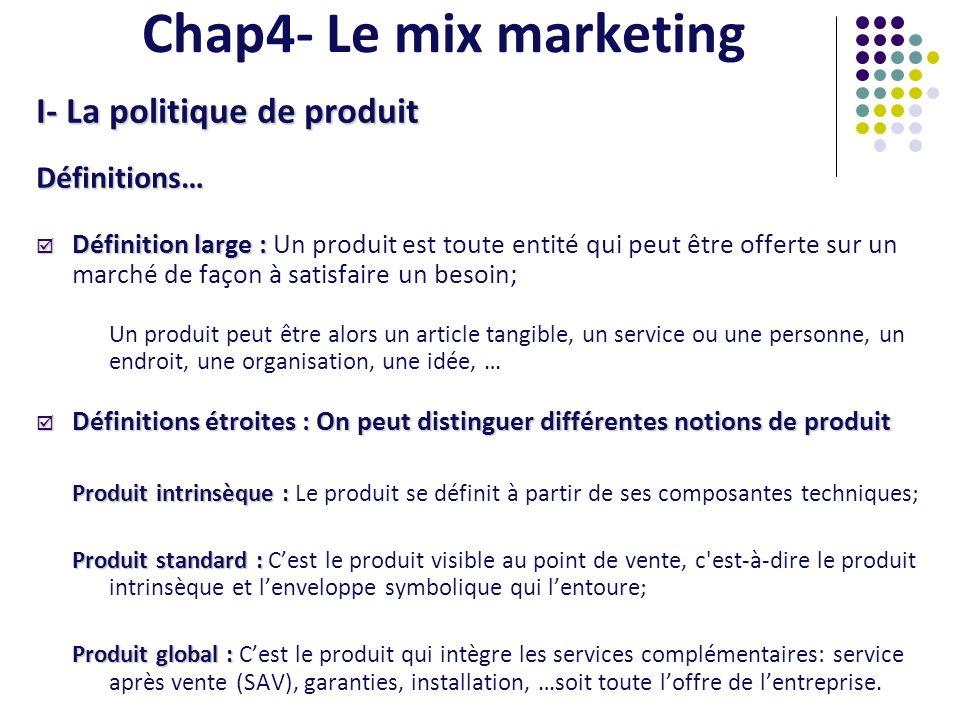 Chap4- Le mix marketing I- La politique de produit Définitions…