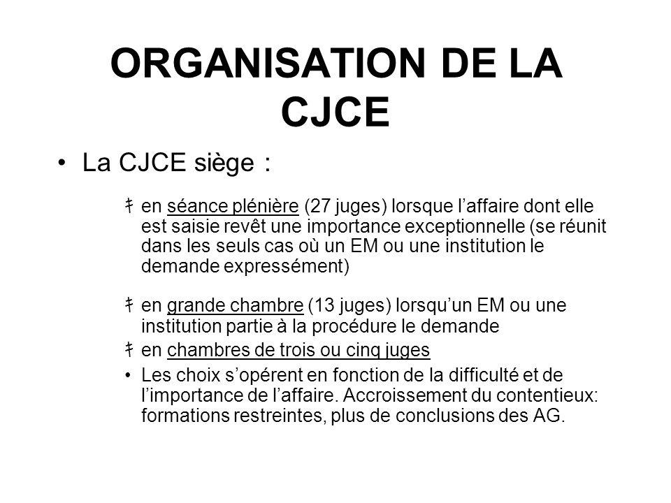 ORGANISATION DE LA CJCE