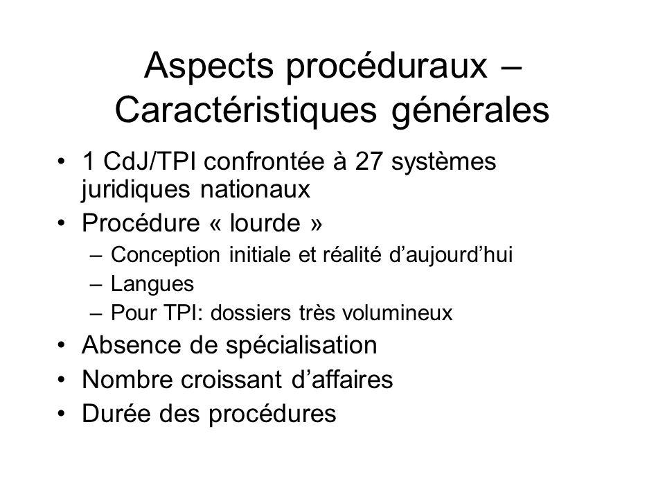 Aspects procéduraux – Caractéristiques générales