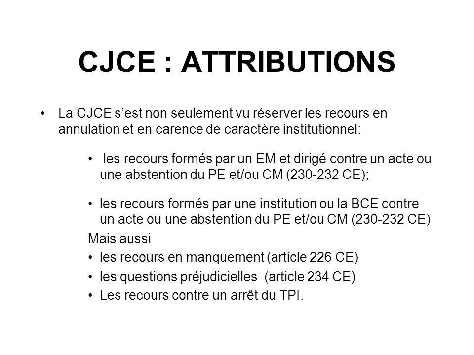 CJCE : ATTRIBUTIONSLa CJCE s'est non seulement vu réserver les recours en annulation et en carence de caractère institutionnel: