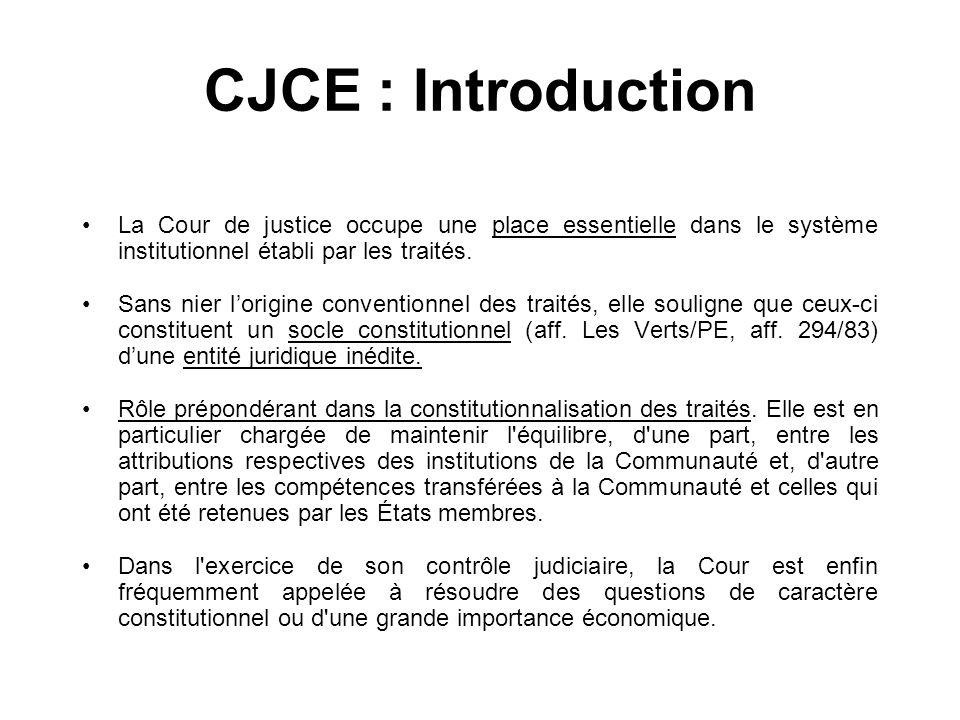 CJCE : IntroductionLa Cour de justice occupe une place essentielle dans le système institutionnel établi par les traités.