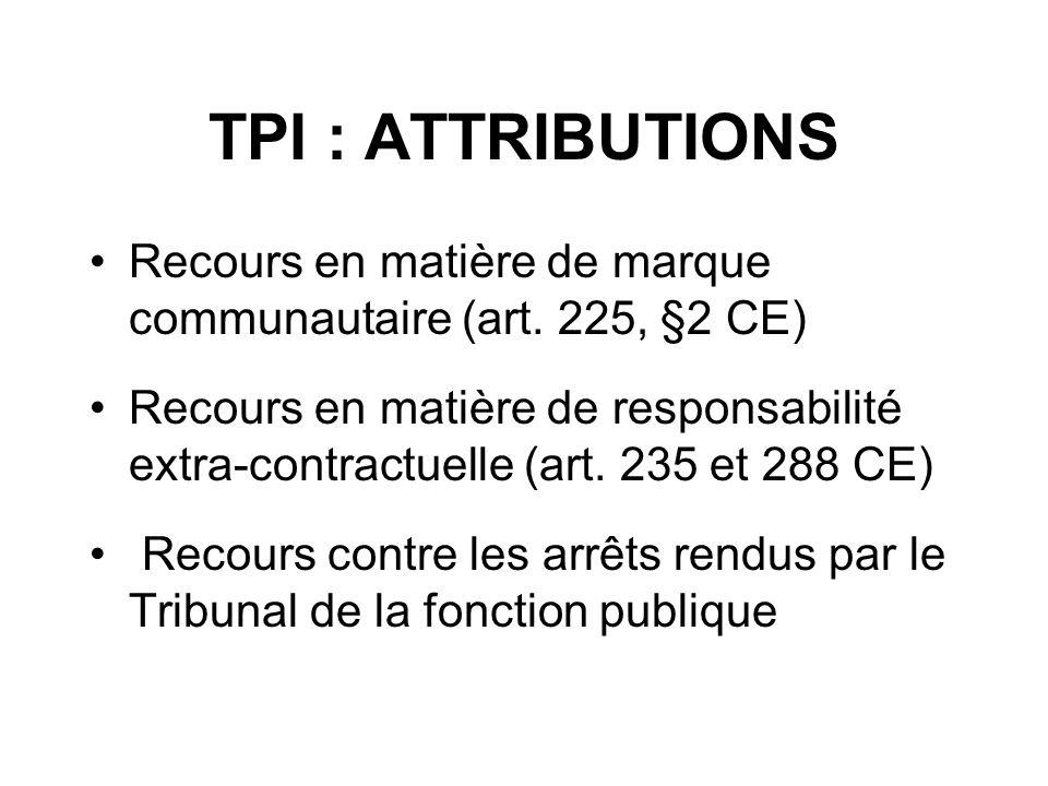 TPI : ATTRIBUTIONS Recours en matière de marque communautaire (art. 225, §2 CE)