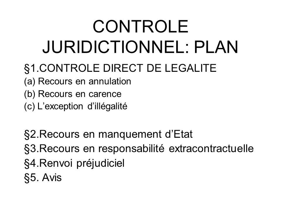 CONTROLE JURIDICTIONNEL: PLAN