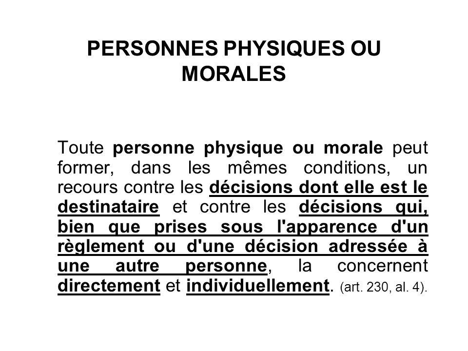 PERSONNES PHYSIQUES OU MORALES
