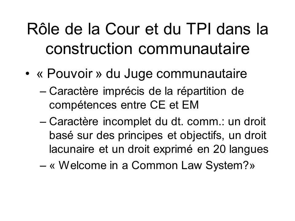 Rôle de la Cour et du TPI dans la construction communautaire