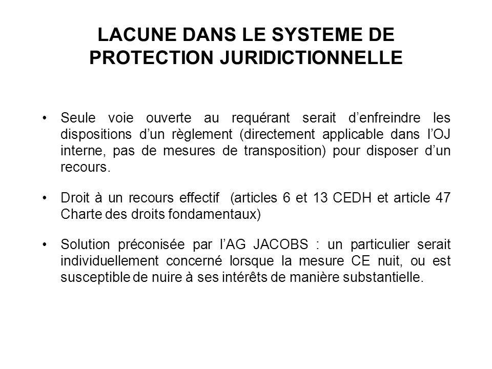 LACUNE DANS LE SYSTEME DE PROTECTION JURIDICTIONNELLE