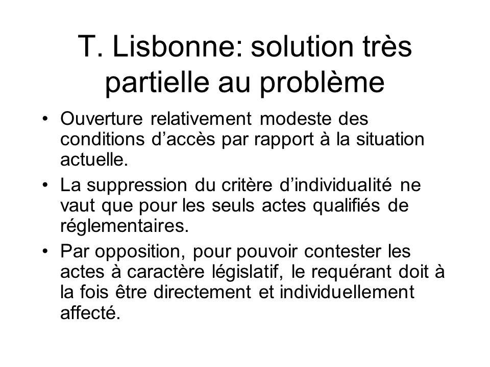 T. Lisbonne: solution très partielle au problème