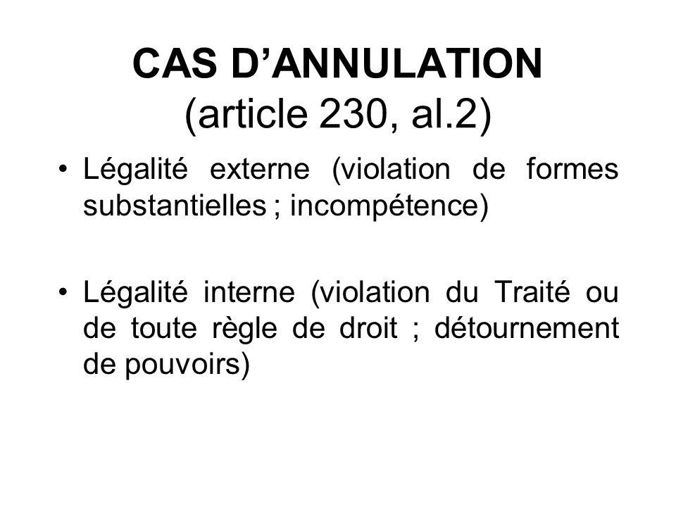 CAS D'ANNULATION (article 230, al.2)