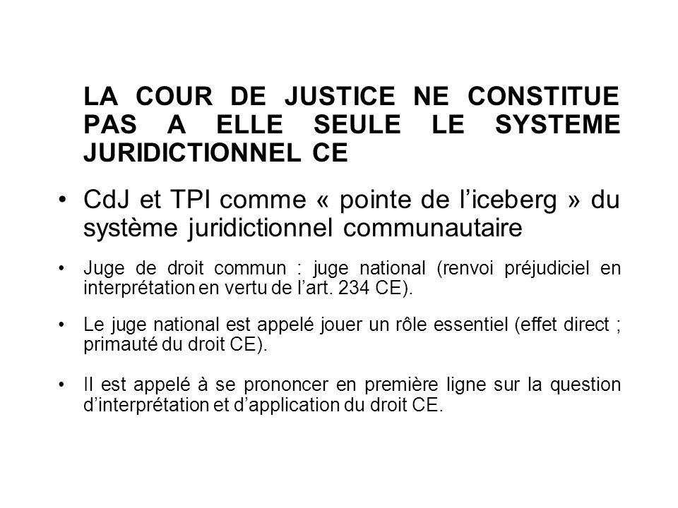 LA COUR DE JUSTICE NE CONSTITUE PAS A ELLE SEULE LE SYSTEME JURIDICTIONNEL CE