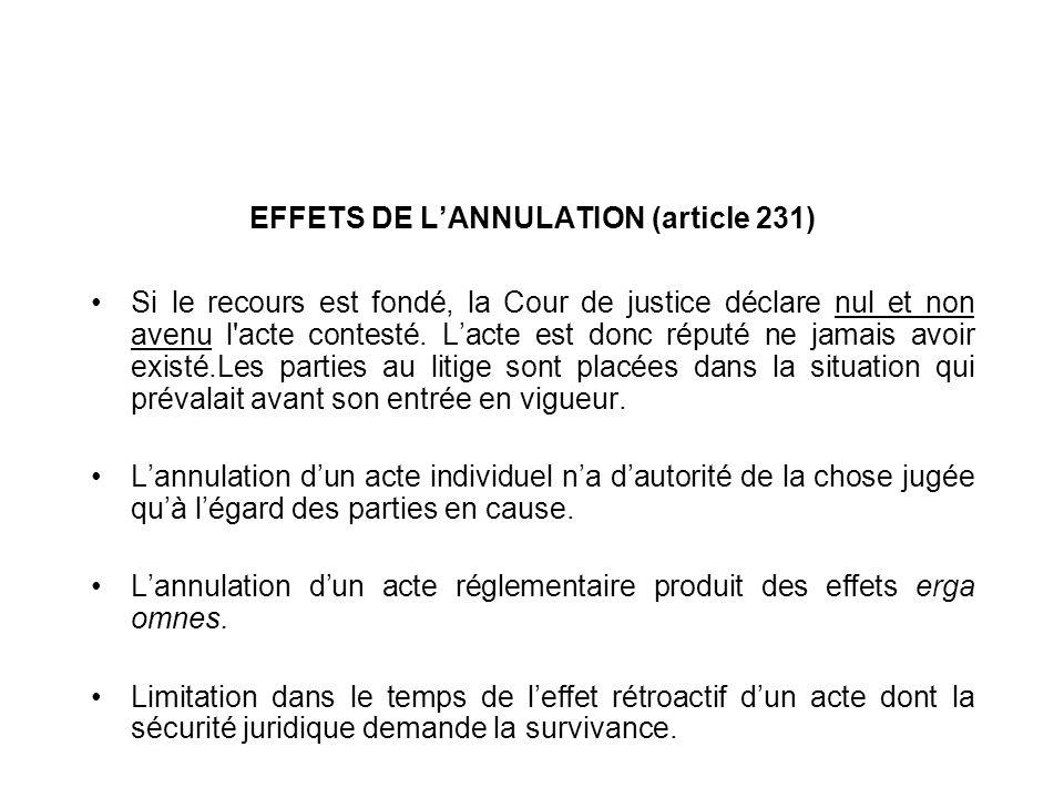 EFFETS DE L'ANNULATION (article 231)