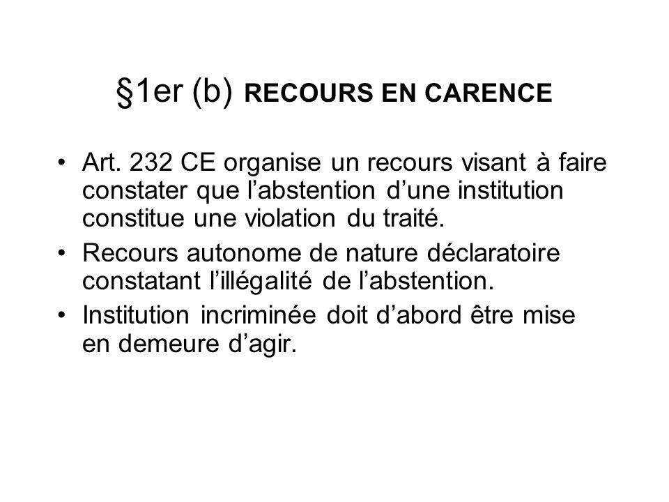 §1er (b) RECOURS EN CARENCE