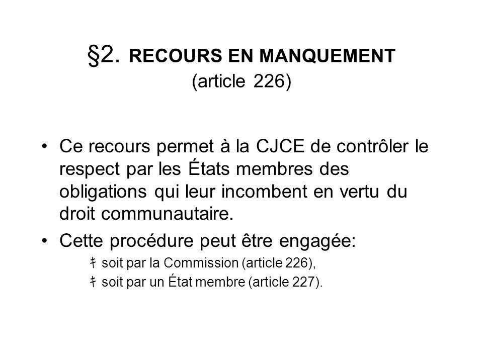 §2. RECOURS EN MANQUEMENT (article 226)