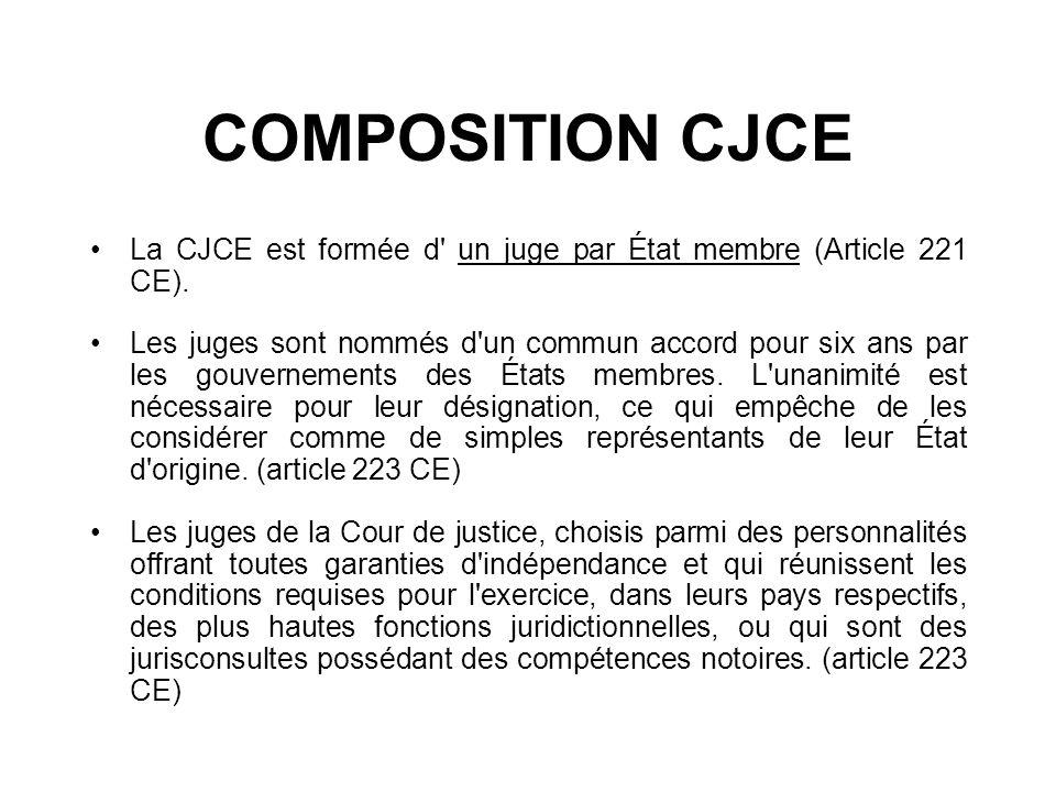 COMPOSITION CJCELa CJCE est formée d un juge par État membre (Article 221 CE).