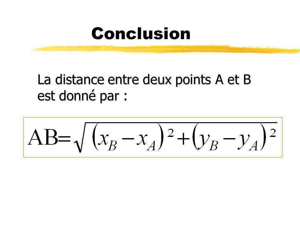 Conclusion La distance entre deux points A et B est donné par :