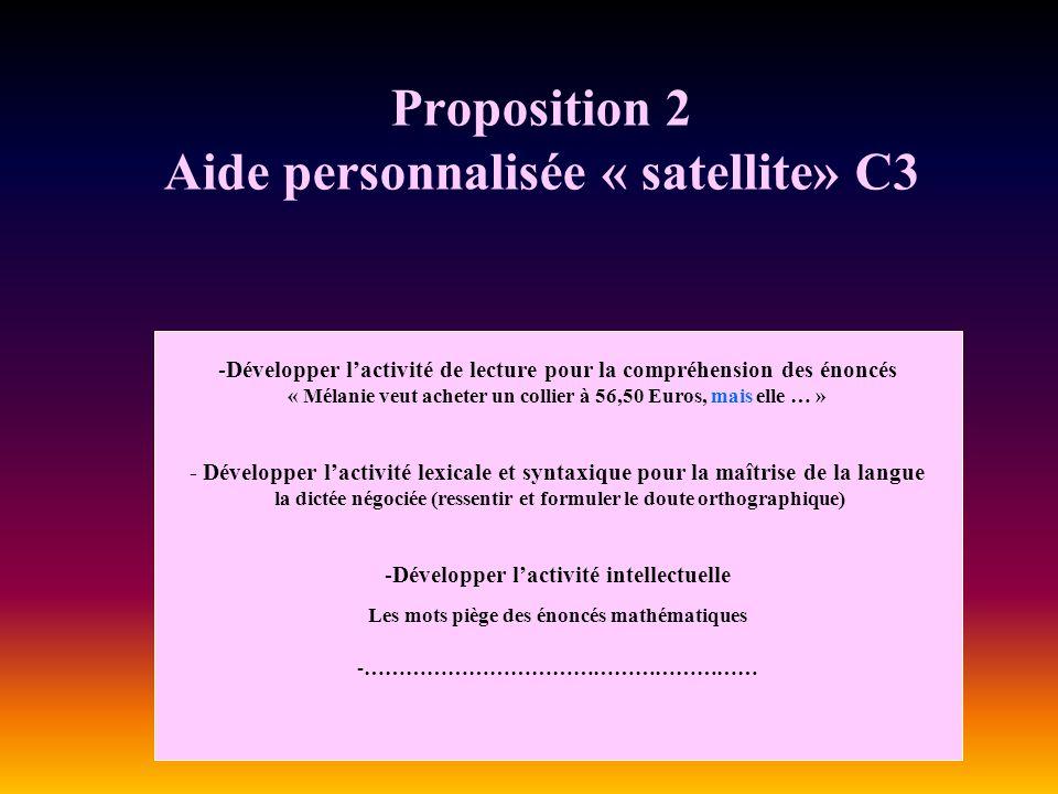 Proposition 2 Aide personnalisée « satellite» C3