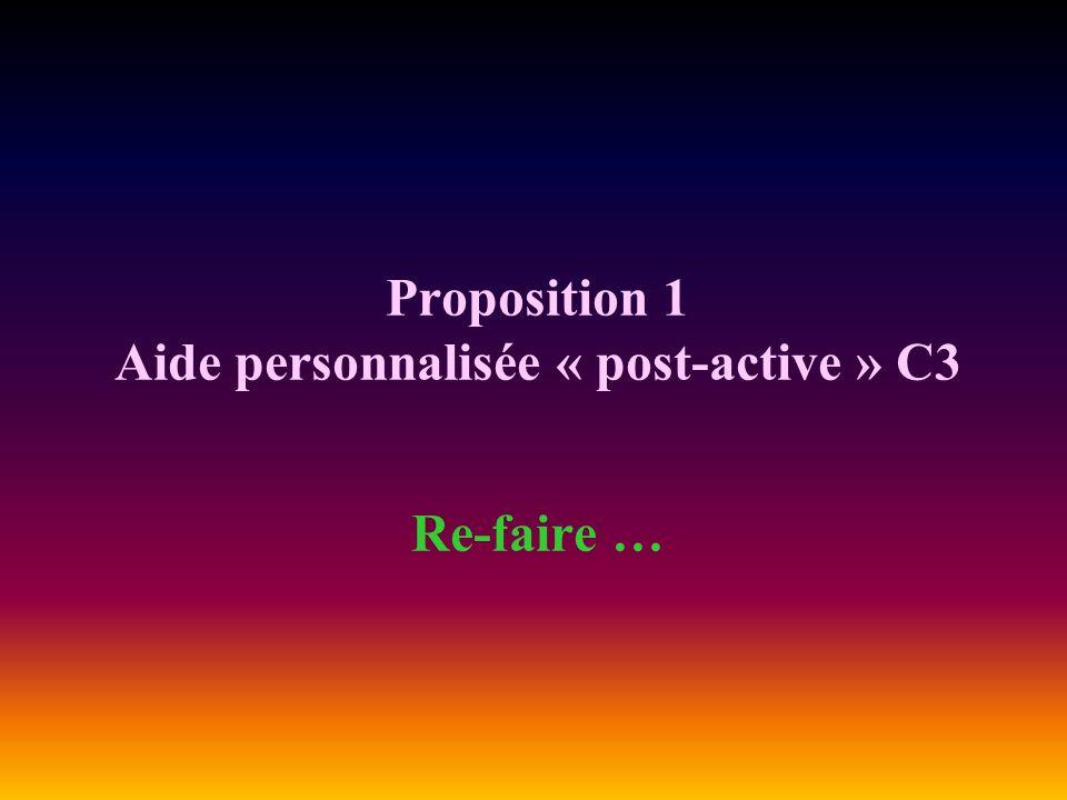 Proposition 1 Aide personnalisée « post-active » C3 Re-faire …