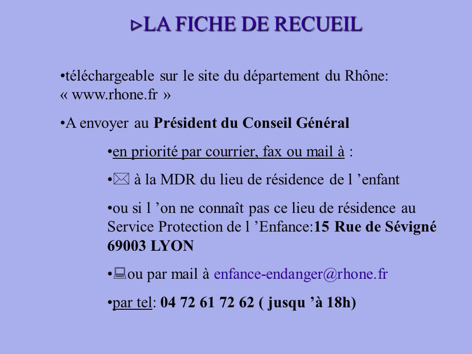 LA FICHE DE RECUEIL téléchargeable sur le site du département du Rhône: « www.rhone.fr » A envoyer au Président du Conseil Général.