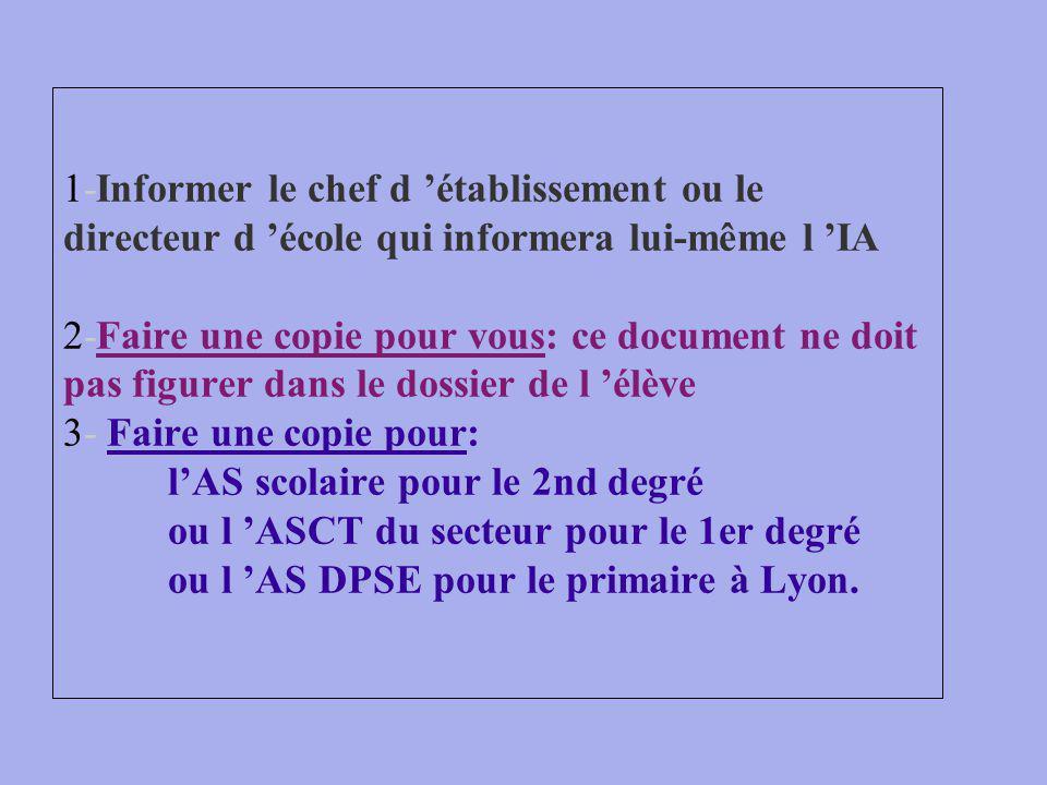 1-Informer le chef d 'établissement ou le directeur d 'école qui informera lui-même l 'IA 2-Faire une copie pour vous: ce document ne doit pas figurer dans le dossier de l 'élève 3- Faire une copie pour: l'AS scolaire pour le 2nd degré ou l 'ASCT du secteur pour le 1er degré ou l 'AS DPSE pour le primaire à Lyon.