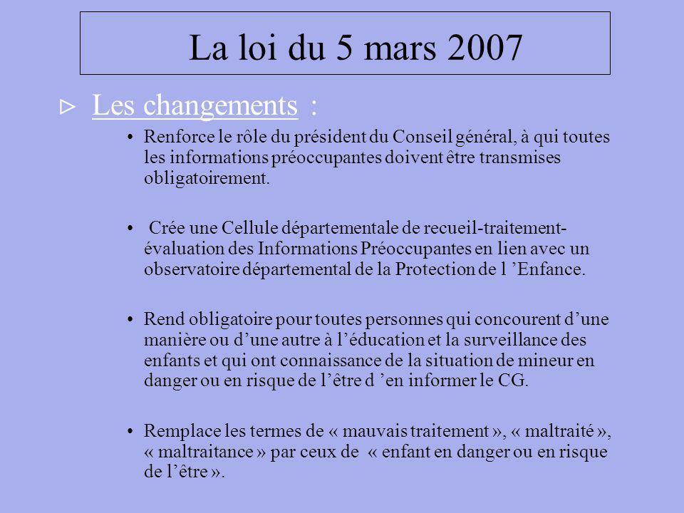 La loi du 5 mars 2007 Les changements :