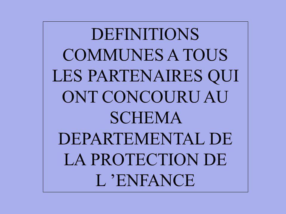 DEFINITIONS COMMUNES A TOUS LES PARTENAIRES QUI ONT CONCOURU AU SCHEMA DEPARTEMENTAL DE LA PROTECTION DE L 'ENFANCE