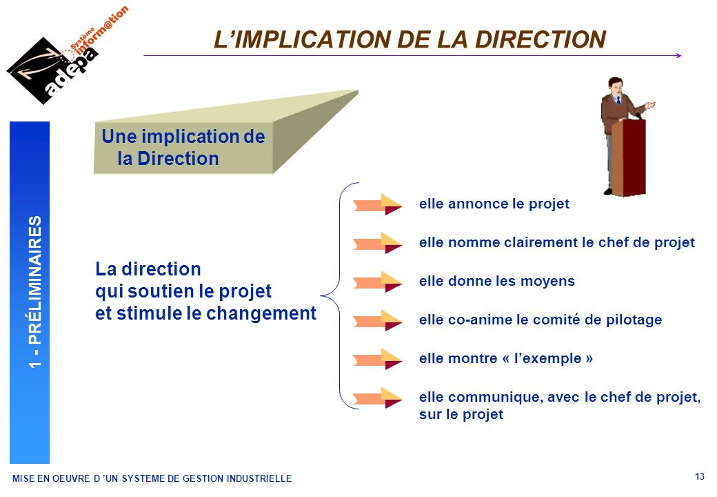 L'IMPLICATION DE LA DIRECTION