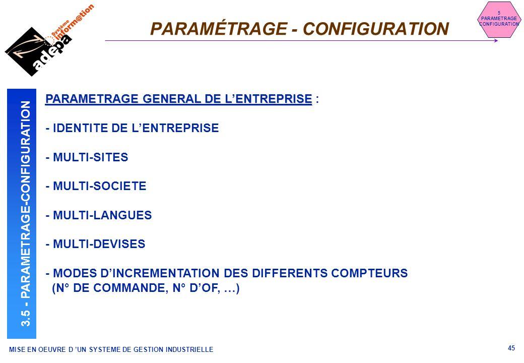 PARAMÉTRAGE - CONFIGURATION