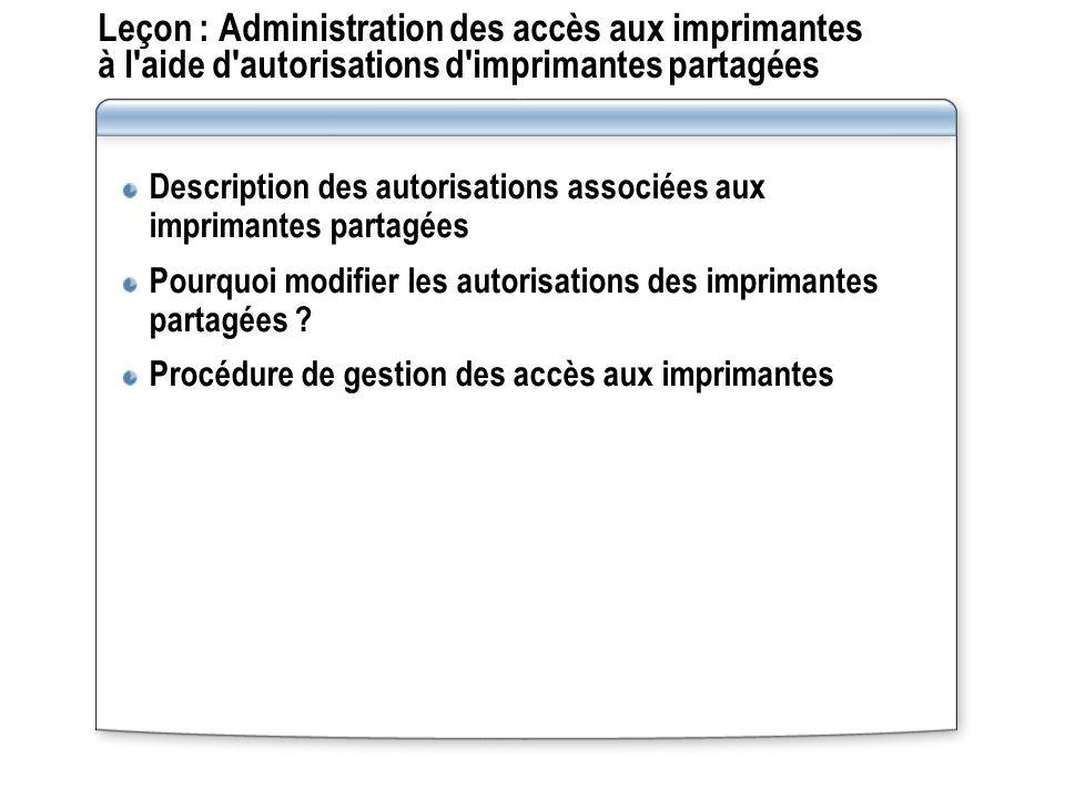 Leçon : Administration des accès aux imprimantes à l aide d autorisations d imprimantes partagées